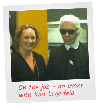 Katie Dyer with Karl Lagerfeld